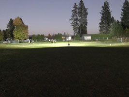 Sports field being lit by remote area lighting system. Click to enlarge.