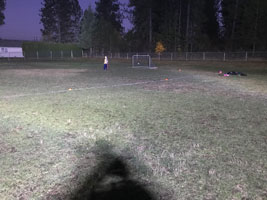 Another view of the light from one LED, helping kids play soccer.